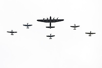 Avro Lancaster from Battle of Britain Memorial Flight with 3 Sptifires and 2 Hurricanes. (One Spitfire is clipped wing verson)<br /> RAF centenary fly-past at Buckingham Palace, The Mall, London England on July 10, 2018.<br /> CAP/PL<br /> &copy;Phil Loftus/Capital Pictures