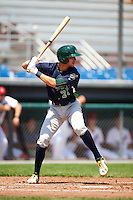 Vermont Lake Monsters designated hitter Eli White (27) at bat during a game against the Auburn Doubledays on July 13, 2016 at Falcon Park in Auburn, New York.  Auburn defeated Vermont 8-4.  (Mike Janes/Four Seam Images)
