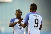 San Diego, CA - Sunday January 29, 2017: Darlington Nagbe, Juan Agudelo during an international friendly between the men's national teams of the United States (USA) and Serbia (SRB) at Qualcomm Stadium.