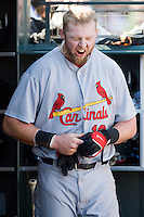 13 April 2008: #16 Chris Duncan of the Cardinals reacts in the dugout during the San Francisco Giants 7-4 victory over the St. Louis Cardinals at the AT&T Park in San Francisco, CA.