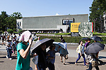 Under the hot sunshine visitors walk past the National Museum of Western Art in Ueno Park on July 18, 2016, Tokyo, Japan. The UNESCO World Heritage Committee decided to add Japan's National Museum of Western Art designed by the Swiss-French architect Le Corbusier to the World Heritage list during a meeting in Istanbul on Sunday. The museum which was completed in 1959 is the only Japanese structure designed by the world renowned architect. (Photo by Rodrigo Reyes Marin/AFLO)