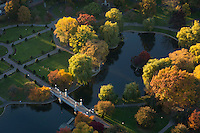Public Garden, Boston, MA aerial view autumn afternoon