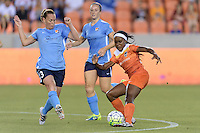 Houston, TX - Friday April 29, 2016: Chioma Ubogagu (9) of the Houston Dash attempts to keep the ball away from Christine Rampone (3) of Sky Blue FC at BBVA Compass Stadium. The Houston Dash tied Sky Blue FC 0-0.