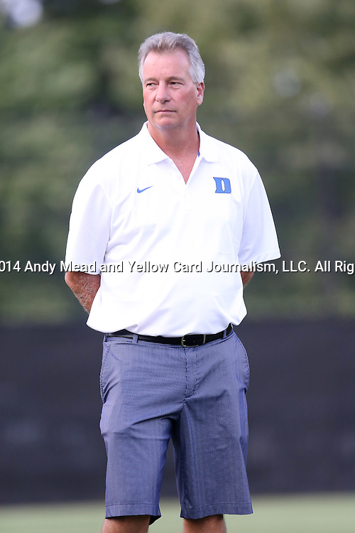 14 August 2014: Duke head coach Robbie Church. The Duke University Blue Devils hosted the University of South Carolina Gamecocks at Koskinen Stadium in Durham, NC in a 2014 NCAA Division I Women's Soccer preseason match. Duke won the exhibition 2-0.