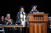 Wendy Sternberg, Vice President for Academic Affairs and Dean of the College presents Dolores Trevizo with The Graham L. Sterling Memorial Award.<br /> The class of 2023 are welcomed to Occidental College by trustees, faculty and staff in Thorne Hall on Aug. 27, 2019 during Oxy's 132th Convocation ceremony, a tradition that formally marks the start of the academic year and welcomes the new class.<br /> (Photo by Marc Campos, Occidental College Photographer)