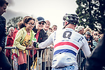 British National Champion Steve Cummings hands his bidon to a young fan at the end of Stage 2 and takes over the points Green Jersey of the 104th edition of the Tour de France 2017, running 203.5km from Dusseldorf, Germany to Liege, Belgium. 2nd July 2017.<br /> Picture: ASO/Thomas Maheux | Cyclefile<br /> <br /> <br /> All photos usage must carry mandatory copyright credit (&copy; Cyclefile | ASO/Thomas Maheux)