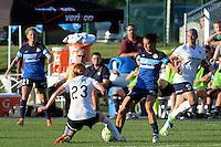 Kansas City, MO - Saturday July 16, 2016: Victoria Huster, Mandy Laddish during a regular season National Women's Soccer League (NWSL) match between FC Kansas City and the Washington Spirit at Swope Soccer Village.
