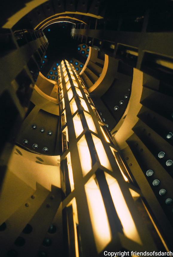 Bernhard Hoetger: Haus Atlantis in Bottcherstrasse. Staircase, looking up. Photo '87.
