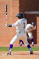 Zach Hubbard #1 of the High Point Panthers at bat against the Dayton Flyers at Willard Stadium on February 26, 2012 in High Point, North Carolina.    (Brian Westerholt / Four Seam Images)