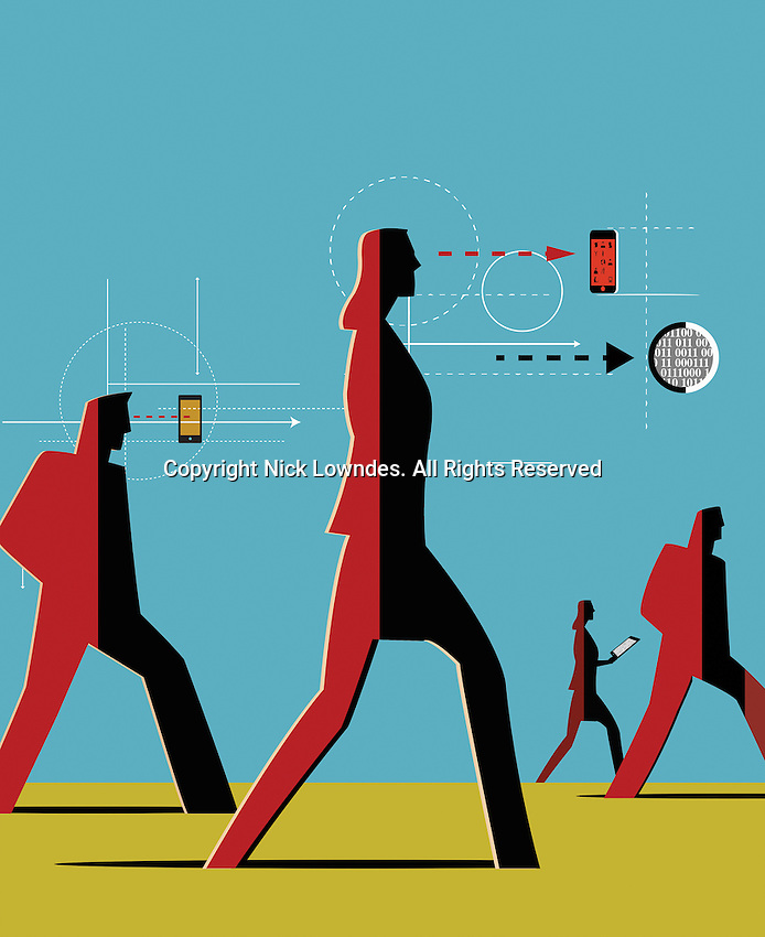People walking and dependent on digital technology