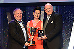 Michelle Condon, South Eastern Theatre Group, Waterford who won Best Ensemble / Sullivan Section for the show 'Light at the End of The Tunnell' receiving the trophy from on  left, Colm Moules, President, AIMS and Seamus Power, Vice-President at the Association of Irish Musical Societies annual awards in the INEC, KIllarney at the weekend.<br /> Photo: Don MacMonagle -macmonagle.com<br /> <br /> <br /> <br /> repro free photo from AIMS<br /> Further Information:<br /> Kate Furlong AIMS PRO kate.furlong84@gmail.com