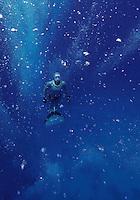 Freediving in a spot called The Canyon near Dahab,Sinai in Egypt. Elisabeth Kristoffersen (Norway) ascends amongst bubbles from scuba divers. © Fredrik Naumann/Felix Features