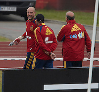 POLAND - Gniewino - 08 JUNE 2012 - Spanish National Team Training Session at Gniewino. Pepe Reina joking with Vicente del Bosque at the end of the training session.