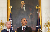 United States President Barack Obama, joined by US Vice President Joe Biden, delivers remarks at the Easter Prayer Breakfast at the White House in Washington, D.C. on March 30, 2016.<br /> Credit: Kevin Dietsch / Pool via CNP