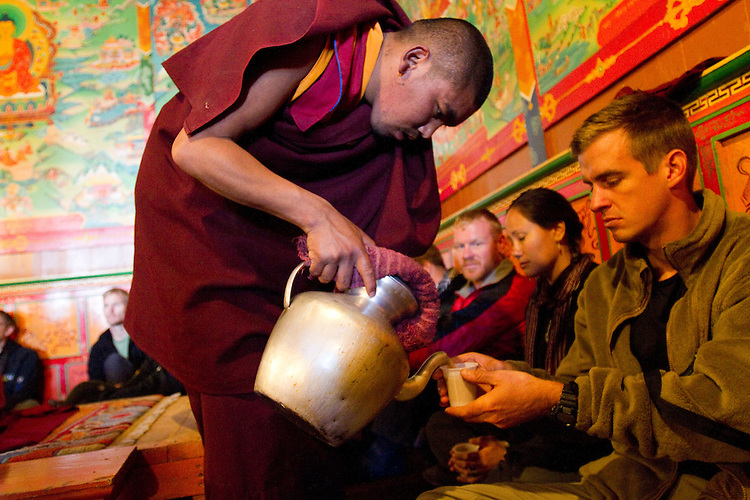 Brian has some tea in the Tengboche Monastery. Photo by Didrik Johnck.