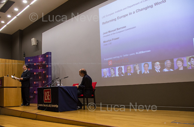 (From R to L) Jos&eacute; Manuel Barroso and Maurice Fraser. <br /> <br /> London, 14/02/2014. Today, LSE (London School of Economics) presented a public lecture called &quot;Reforming Europe in a Changing World&quot; hosted by Jos&eacute; Manuel Barroso (11th and current President of the European Commission, position held since 2004; former Prime Minister of Portugal, 2002-2004; member of the left Portuguese party: Social Democratic Party). Chair of the event was Professor Maurice Fraser (Senior Fellow in European Politics, Director Agora Projects - publishing. Senior Counsellor, APCO Worldwide. Special Adviser to UK Foreign Secretaries Douglas Hurd, John Major and Sir Geoffrey Howe, 1989 - 1995).