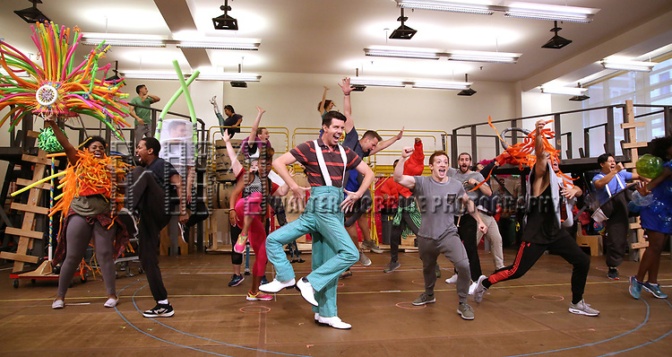 Gavin Lee and Ethan Slater with cast during the Rehearsal Press Preview of the New Broadway  Musical on 'SpongeBob SquarePants'  on October 11, 2017 at the Duke 42nd Street Studios in New York City.