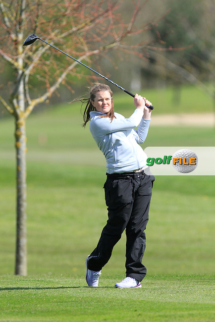 Jillian Farrell (SCO) on the 13th tee during Round 1 of The Irish Girls Open Strokeplay Championship in Roganstown Golf Club on Saturday 18th April 2015.<br />