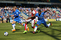 Fleetwood Town's Amari'i Bell goes past Gillingham's Ryan Jackson<br /> <br /> Photographer Rob Newell/CameraSport<br /> <br /> The EFL Sky Bet League One - Gillingham v Fleetwood Town - Saturday 22nd April 2017 - MEMS Priestfield Stadium - Gillingham<br /> <br /> World Copyright &not;&copy; 2017 CameraSport. All rights reserved. 43 Linden Ave. Countesthorpe. Leicester. England. LE8 5PG - Tel: +44 (0) 116 277 4147 - admin@camerasport.com - www.camerasport.com