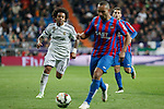 Real Madrid´s Marcelo Vieira (L) and Levante´s El Zhar during La Liga match at Santiago Bernabeu stadium in Madrid, Spain. March 15, 2015. (ALTERPHOTOS/Victor Blanco)