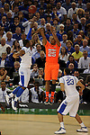 31 MAR 2012:  Terrence Jones (3) of University of Kentucky tries to block the shot of Wayne Blackshear (25) of the University of Louisville during the Semifinal Game of the 2012 NCAA Men's Division I Basketball Championship Final Four held at the Mercedes-Benz Superdome hosted by Tulane University in New Orleans, LA. Kentucky defeated Louisville 69-61 to advance to the national final. Brett Wilhelm/ NCAA Photos