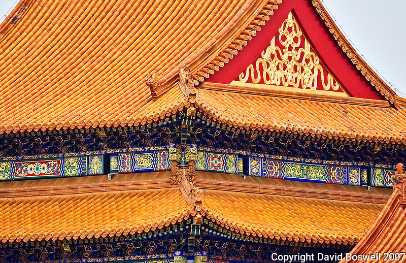 A view of the ornate and intricate roofs that fill the Forbidden City in Beijing, China.