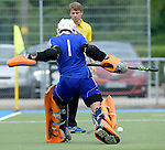 GER - Mannheim, Germany, May 16: During the whitsun tournament boys hockey match between Germany (black) and The Netherlands (orange) on May 16, 2016 at Mannheimer HC in Mannheim, Germany. Final score 4-3 (HT 2-0). (Photo by Dirk Markgraf / www.265-images.com) *** Local caption *** Flip Wijsman (GK) #1 of The Netherlands