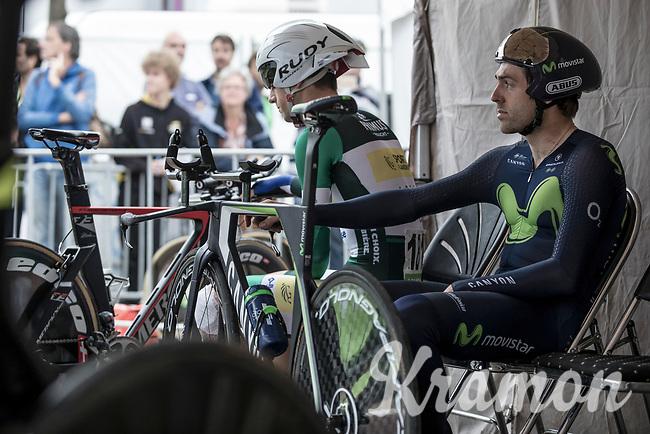 Piet Allegaert (BEL/Sport Vlaanderen Baloise) and Alex Dowsett (GBR/Movistar) awaiting their iTT start<br /> <br /> Binckbank Tour 2017 (UCI World Tour)<br /> Stage 2: ITT Voorburg (NL) 9km