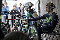 Piet Allegaert (BEL/Sport Vlaanderen Baloise) and Alex Dowsett (GBR/Movistar) awaiting their iTT start<br /> <br /> Binckbank Tour 2017 (UCI World Tour)<br /> Stage 2: ITT Voorburg (NL) 9km
