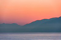 Sunrise of the coastal mountains along the Gulf of Naples, Italy