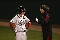 15 February 2008: Stanford Cardinal Alissa Haber (left) and assistant coach Jessica Allister (right) during Stanford's 11-0 win against the Wichita State Shockers in the Stanford Invitational I at the Boyd and Jill Smith Family Stadium in Stanford, CA.
