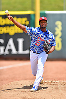 Tennessee Smokies starting pitcher Oscar De La Cruz (37) warms up in the bullpen before a game against the Mississippi Braves at Smokies Stadium on May 20, 2018 in Kodak, Tennessee. The Braves defeated the Smokies 7-4. (Tony Farlow/Four Seam Images)