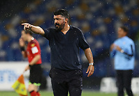 1st August 2020; Stadio San Paolo, Naples, Campania, Italy; Serie A Football, Napoli versus Lazio; Gennaro Gattuso coach of Napoli gets animated on the sideline