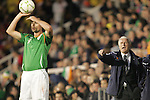 29 May 2008: Ireland head coach Giovanni Trapattoni (ITA) (right) directs traffic as Damien Delaney (IRL) (3) prepares to take a throw-in. The Republic of Ireland Men's National Team defeated the Colombia Men's National Team 1-0 at Craven Cottage in London, England in an international friendly soccer match.