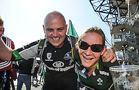 28/05/2016;Guinness Pro12 Final<br /> Connacht supporters Ben Williams and Louise Irvine.<br /> Photo Credit: actionshots.ie/Tommy Grealy