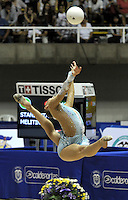 CALI – COLOMBIA – 26-07-2013: Melitina Staniouta de Bielorusia en acción en Giamnasia Ritmica durante los IX Juegos Mundiales Cali, julio 26 de 2013.(Foto: VizzorImage / Luis Ramirez / Staff.) Melitina Staniouta from Belarus in action in the Rhythmic Gymnastics in the IX World Games Cali July 26, 2013. (Photo: VizzorImage / Luis Ramirez / Staff.)