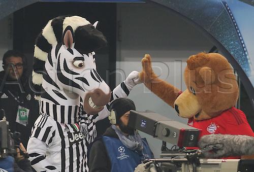 23.02.2016. Turin, Italy. UEFA Champions League football. Juventus versus Bayern Munich.  Mascot Zebra of Juve