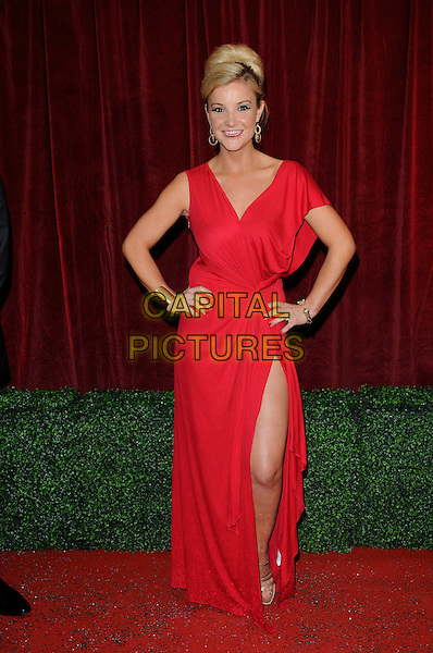 Holly Jay Bowes.Attending the British Soap Awards 2012.at the London Television Centre, London, England, UK, 28th April 2012..arrivals full length red dress hands on hips slit split leg thigh .CAP/CAN.©Can Nguyen/Capital Pictures.