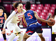 College Park, MD - NOV 21, 2017: Maryland Terrapins guard Blair Watson (22) plays defense against Howard Bison guard Sarah Edmond (5) during the game between the Howard Lady Bison and the Maryland Terrapins at the XFINITY Center in College Park, MD.  (Photo by Phil Peters/Media Images International)