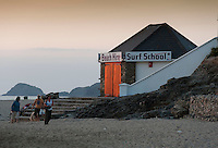 Surf School building at sunset, Perranporth, Cornwall.