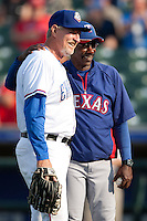 "Texas Rangers manager Ron Washington #38 smiles and poses for a photo with Round Rock Express manager Bobby Jones #31 before the MLB exhibition baseball game against the ""AAA"" Round Rock Express on April 2, 2012 at the Dell Diamond in Round Rock, Texas. The Rangers out-slugged the Express 10-8. (Andrew Woolley / Four Seam Images).."