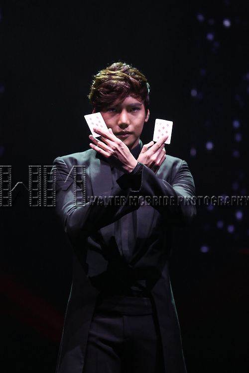 Yu No-Jin performing in a press preview of 'The Illusionists' at Mariott Marquis Theatre on December 2, 2014 in New York City.