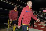MADRID, Spain (14/02/10).-Liga BBVA de futbol. Partido Atletico de Madrid-FC Barcelona..Andres Iniesta y Maxwell.©Raul Perez ..