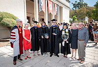 From left: Michael G. Gibby '68 and Barbara J. Gibby '68 with Margi Rusmore, the Michael G. Gibby '68 and Barbara J. Gibby '68 Professor of Science; Amy Lyford, recipient of The Janosik-Sterling Award for Service; Gerald Daigle, recipient of The Linda and Tod White Teaching Prize; Dolores Trevizo, recipient of The Graham L. Sterling Memorial Award; Linda and Tod White '59. Not pictured - The Linda and Tod White Teaching Prize recipient Keith Naylor.<br /> The class of 2023 are welcomed to Occidental College by trustees, faculty and staff in Thorne Hall on Aug. 27, 2019 during Oxy's 132th Convocation ceremony, a tradition that formally marks the start of the academic year and welcomes the new class.<br /> (Photo by Marc Campos, Occidental College Photographer)