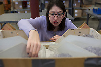 """Cassie Aguilar of Bella Vista sorts plastic tubes, Monday, January 13, 2020 during her work shift at Open Avenues in Rogers. Check out nwaonline.com/200114Daily/ for today's photo gallery.<br /> (NWA Democrat-Gazette/Charlie Kaijo)<br /> <br /> Cassie Aguilar started her second day working at Open Avenues through their community employment program. In December, she worked at Nothing Bundt Cakes but was let go before the Christmas holiday after making a mistake on an order. Aguilar manages ADHD and processing problems which she said she told her employers about. """"Sometimes you have to repeat it to me several times and a lot of employers don't want to deal with that,"""" she said. <br /> <br /> After the firing, she felt horrible she said. That's when her aunt told her about Open Avenues. """"I told her I'm so tired of letting go of jobs,"""" she said. Their community employment program helps individuals obtain employment in the community, develop soft skills, learn through job shadowing and work with a job coach. """"They understand me and they're patient with me. I've had experiences in the real world. They don't understand,"""" she said.<br /> <br /> Although she said her parents have always been supportive of her even when a job doesn't work, she wants to become more independent. """"My goal is to be able to hold a job and have a stable career and full time job, be out on my own, out of my parents house."""" <br /> <br /> She wants to work in an office environment or a vet clinic one day. """"Give us all a chance because everyone of us are hard workers and everyone of us learns differently,"""" she said."""