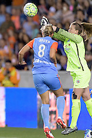 Alyssa Naeher (1) of the Chicago Red Stars punches the ball away from the in the first half against the Houston Dash on Saturday, April 16, 2016 at BBVA Compass Stadium in Houston Texas.
