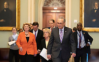 United States Senate Minority Leader Chuck Schumer (Democrat of New York) leads a group of Democrats to speak to the media Capitol Hill in Washington, DC, May 14, 2019. Credit: Chris Kleponis / CNP/AdMedia