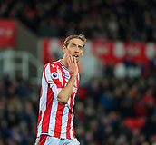 2nd December 2017, bet365 Stadium, Stoke-on-Trent, England; EPL Premier League football, Stoke City versus Swansea City; Peter Crouch of Stoke City looks at the big screen to see a replay of his missed header