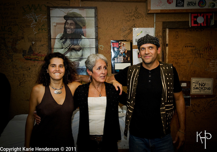 Marianne Aya Omac, Joan Baez and Gabriel Harris play at Ashkenaz in Berkeley, Calif., on Sunday, Sept. 11, 2011. Photo by, Karie Henderson © 2011.