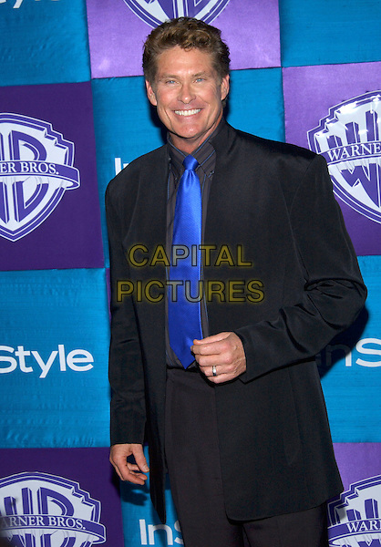 DAVID HASSELHOFF.InStyle Magazine teams with Warner Bros. Studios to host the 6th Annual Golden Globe Party held at Palm Court in the  Beverly Hilton Hotel, Beverly Hills, California, USA, 16 January 2005 .half length blue tie black suit.Ref: ADM.www.capitalpictures.com.sales@capitalpictures.com.©Jacqui Wong/AdMedia/Capital Pictures .